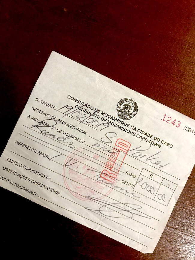 Mozambique, Consulate, Visa Receipt