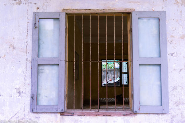 Cambodia, Phnom Penh, Prison Window