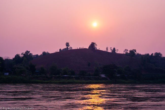 Chiang Rai to Luang Prabang, Mekong River, Sunset