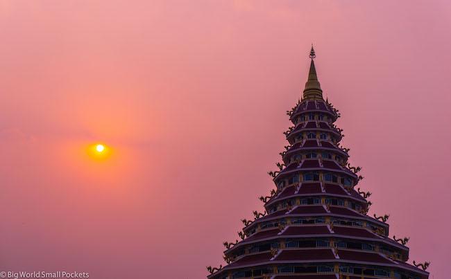 Thailand, Chiang Rai, Temple Sunset