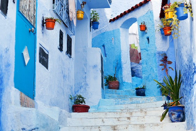 Morocco, Chefchouen, Blue Steps
