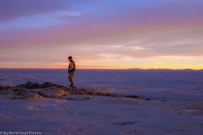 Bolivia, Uyuni, Boy at Sunset