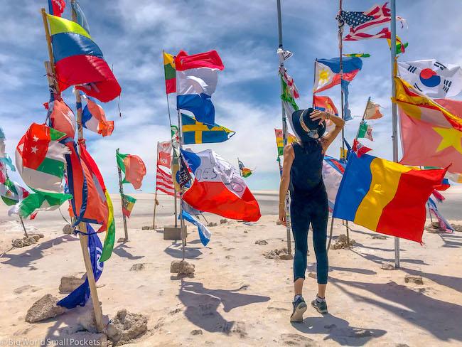 Bolivia, Uyuni, Me and Flags