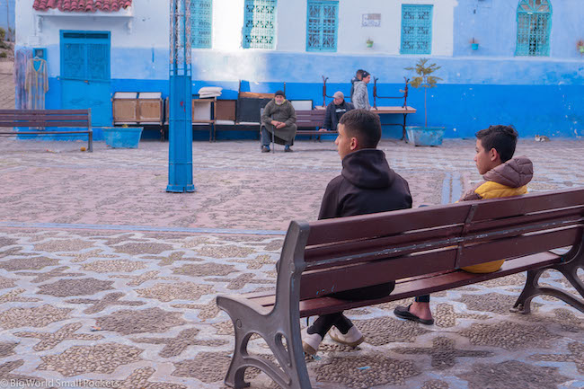 Morocco, Chefchaouen, Boys on Bench