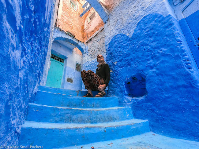 Morocco, Chefchaouen, Me on Steps