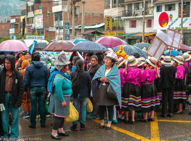 Peru, Huaraz, Women with Umbrellas