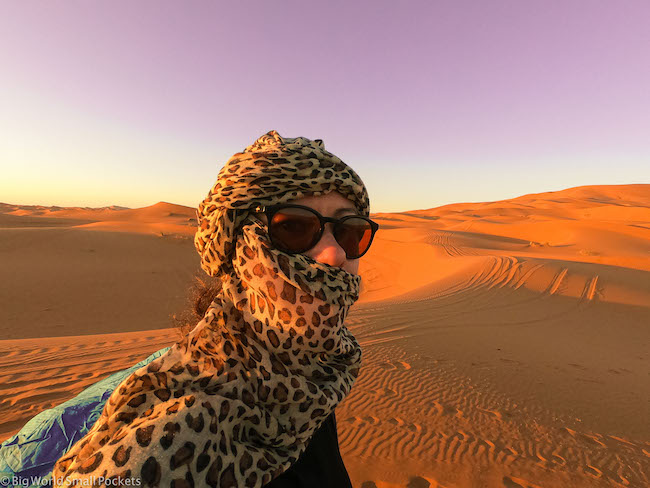 Morocco, Sahara Desert, Me with Headwrap