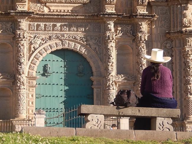 Peru, Cajamarca, Church and Person