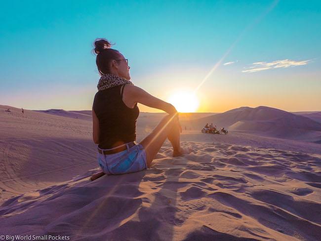 Peru, Huacachina, Me at Sunset