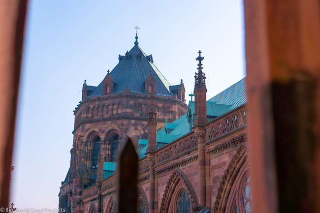 France, Strasbourg, Cathedral Through Bars