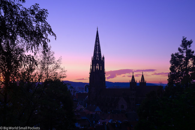 Germany, Freiburg, Cathedral Sunsetk Forest Views