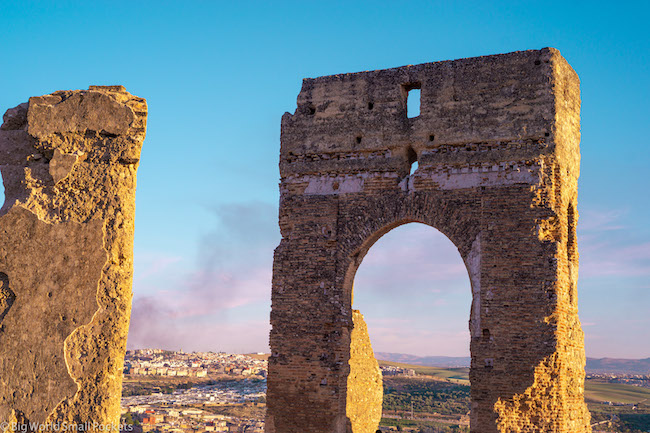 Morocco, Fez, Ruins at Sunset