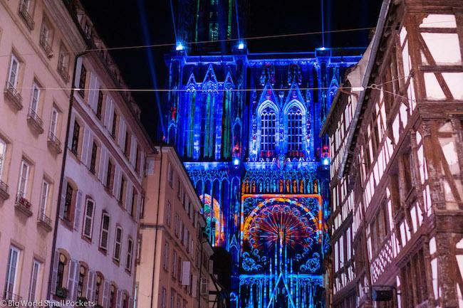 France, Alsace, Strasbourg Cathedral Lightshow
