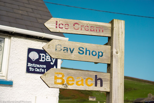 Wales, Gower, Camping Sign