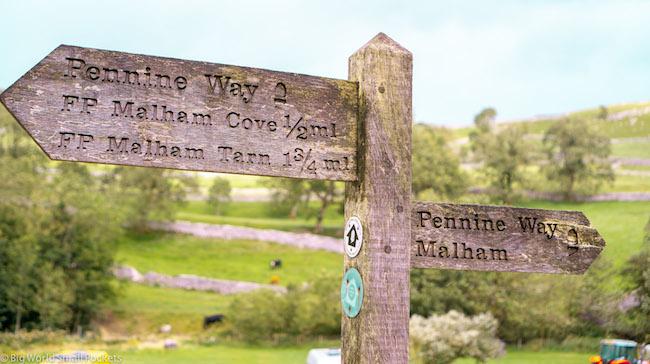 England, Yorkshire, Pennine Way Sign to Malham