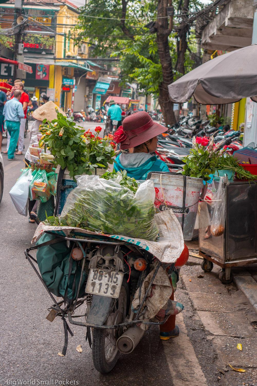 Vietnam, Hanoi, Lady on Motorbike