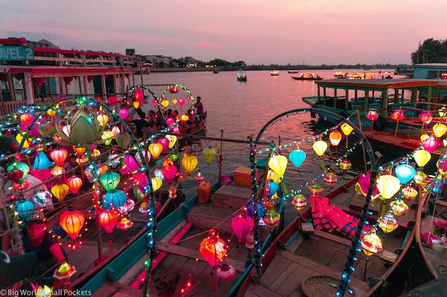Vietnam, Hoi An, River Boats at Night