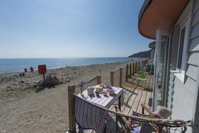 England, Dorset, Chalet on the Beach